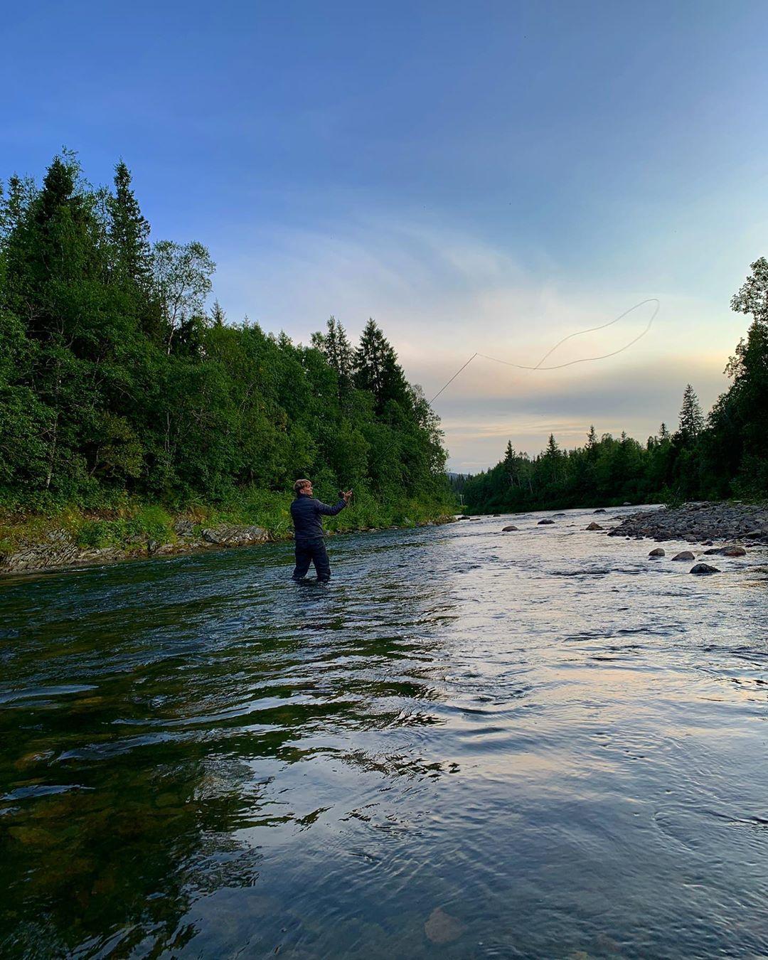 Fishing for salmon in Drevja river